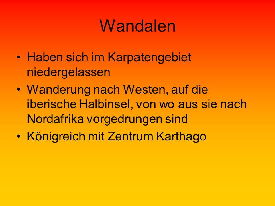 Wandalen Haben sich im Karpatengebiet niedergelassen Wanderung nach Westen, auf die iberische Halbinsel, von wo aus sie nach Nordafrika vorgedrungen s