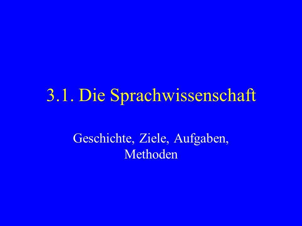 3.1. Die Sprachwissenschaft Geschichte, Ziele, Aufgaben, Methoden