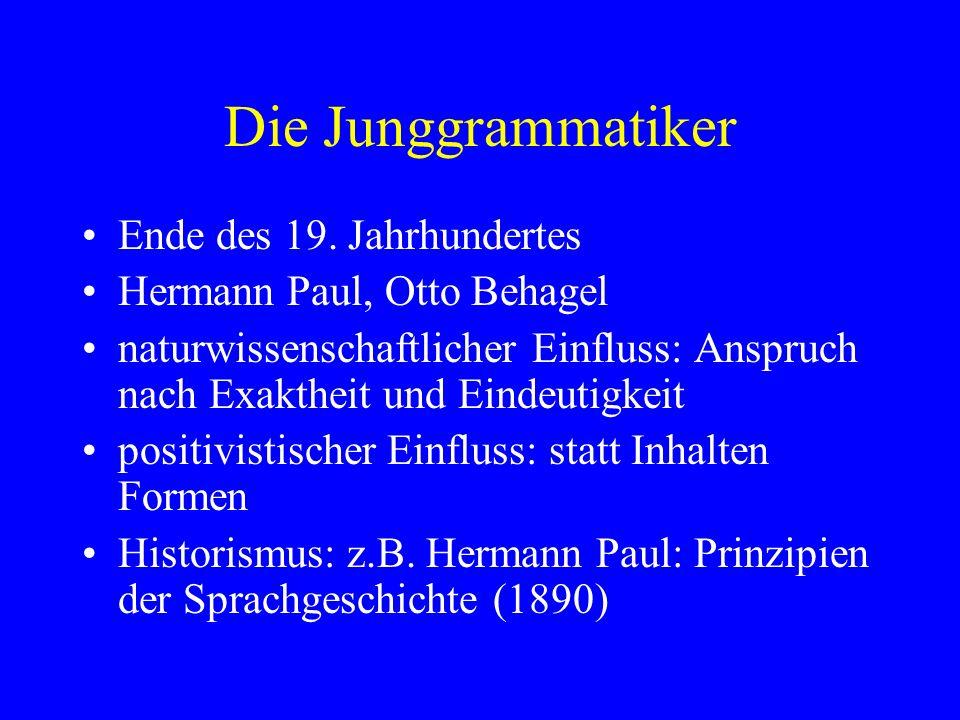 Die Junggrammatiker Ende des 19.