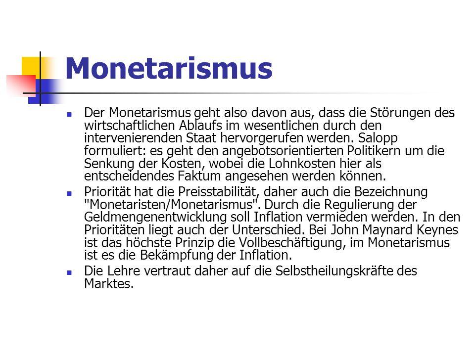 Monetarismus Der Monetarismus geht also davon aus, dass die Störungen des wirtschaftlichen Ablaufs im wesentlichen durch den intervenierenden Staat hervorgerufen werden.