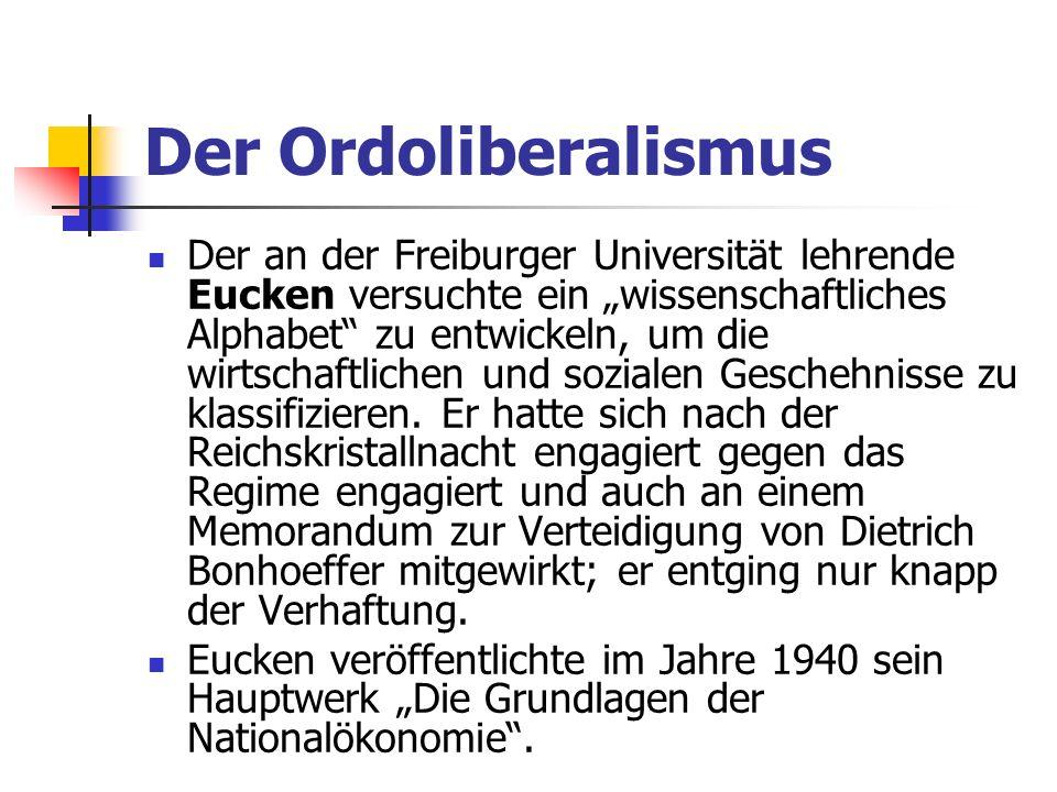 Der Ordoliberalismus Der an der Freiburger Universität lehrende Eucken versuchte ein wissenschaftliches Alphabet zu entwickeln, um die wirtschaftlichen und sozialen Geschehnisse zu klassifizieren.