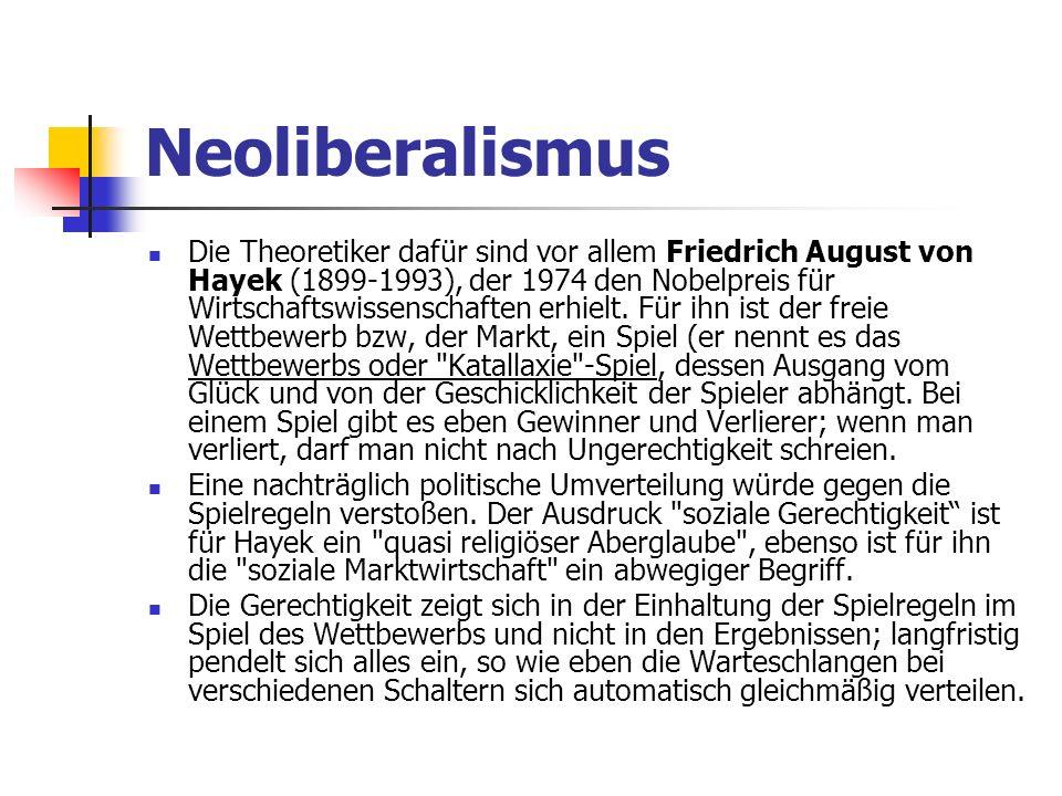 Neoliberalismus Die Theoretiker dafür sind vor allem Friedrich August von Hayek (1899-1993), der 1974 den Nobelpreis für Wirtschaftswissenschaften erhielt.