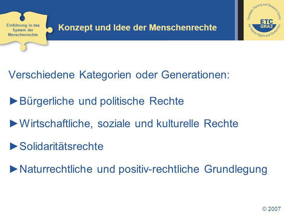 © 2007 Konzept und Idee der Menschenrechte Verschiedene Kategorien oder Generationen: Bürgerliche und politische Rechte Wirtschaftliche, soziale und kulturelle Rechte Solidaritätsrechte Naturrechtliche und positiv-rechtliche Grundlegung Einführung in das System der Menschenrechte