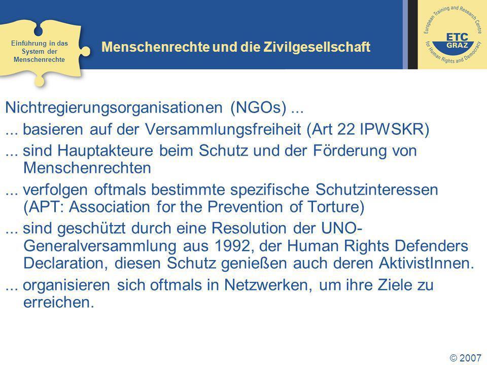 © 2007 Menschenrechte und die Zivilgesellschaft Nichtregierungsorganisationen (NGOs)......