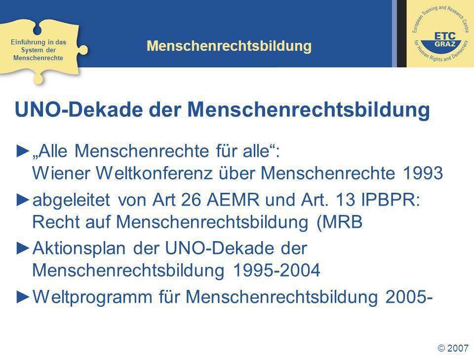 © 2007 Europäischer Gerichtshof für Menschenrechte (EGMR) 1.Prüfung der Zulässigkeit einer Beschwerde (Verletzung durch EMRK geschützter Rechte, in einem EMRK- Mitgliedsstaat, Erschöpfung aller nationalen Rechtsmittel, Sechsmonatsfrist) 2.Verfahren über Inhalt der Beschwerde (schriftlich und mündlich) 3.Urteil, bindend für Staat 4.Überwachung durch Ministerkomitee Einführung in das System der Menschenrechte