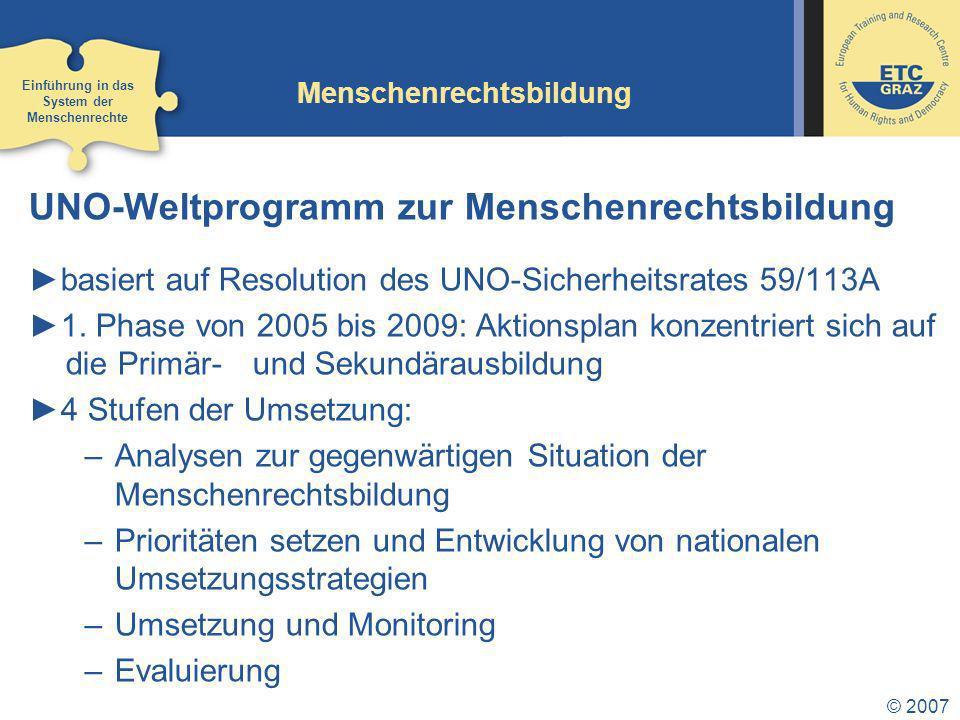 © 2007 Menschenrechtsbildung UNO-Weltprogramm zur Menschenrechtsbildung basiert auf Resolution des UNO-Sicherheitsrates 59/113A 1.