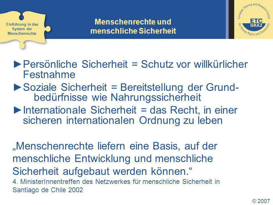 © 2007 Monitoring Staaten können kontrolliert werden durch: internationale Mechanismen (siehe vorherige Folie): zentrale Rolle des UNHCHR nationale Mechanismen: Ombudspersonen, nationale Menschenrechtsinstitutionen Zivilgesellschaft Einführung in das System der Menschenrechte