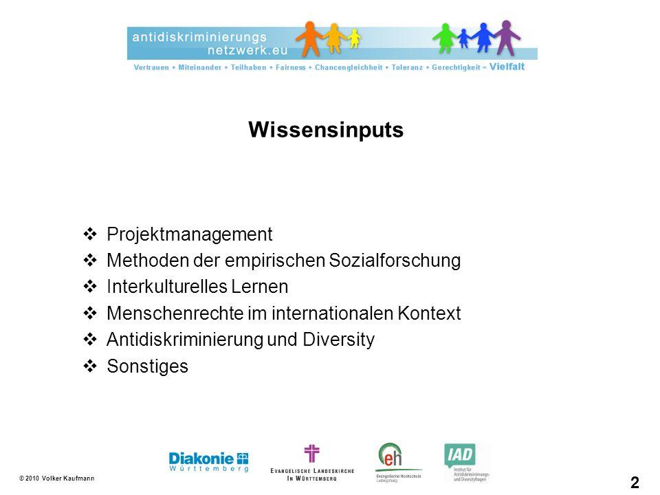 © 2010 Volker Kaufmann Projektmanagement Methoden der empirischen Sozialforschung Interkulturelles Lernen Menschenrechte im internationalen Kontext An