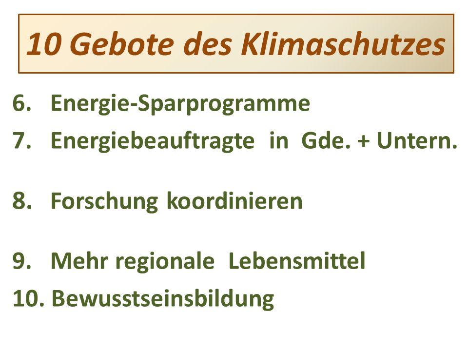 6.Energie-Sparprogramme 7.Energiebeauftragte in Gde.