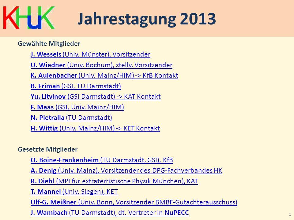 Jahrestagung 2013 Gewählte Mitglieder J. Wessels (Univ. Münster), Vorsitzender U. Wiedner (Univ. Bochum), stellv. Vorsitzender K. Aulenbacher (Univ. M