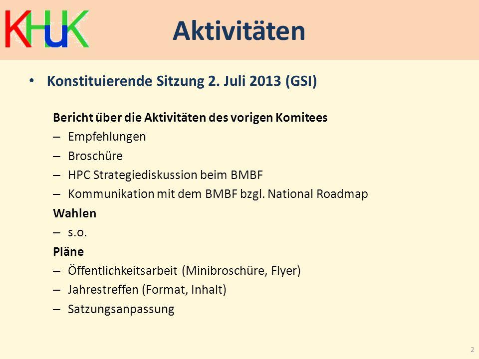 Aktivitäten Konstituierende Sitzung 2. Juli 2013 (GSI) Bericht über die Aktivitäten des vorigen Komitees – Empfehlungen – Broschüre – HPC Strategied