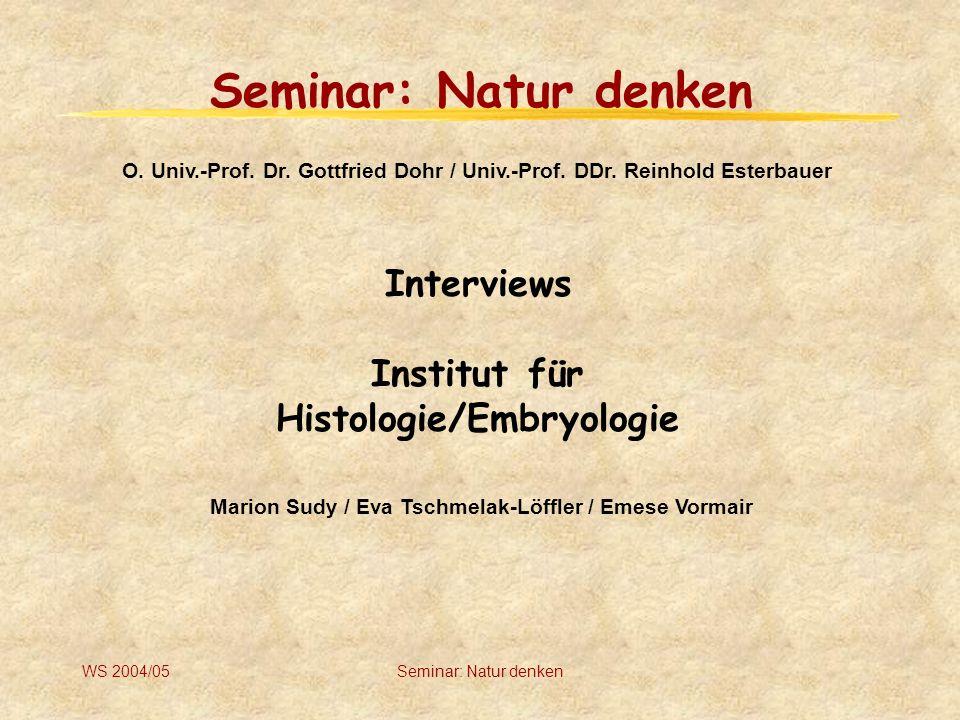 WS 2004/05Seminar: Natur denken Inhaltsverzeichnis Allgemeine Information Interviews Thesen Diskussion