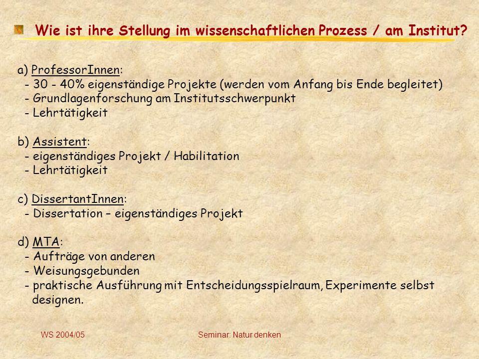 WS 2004/05Seminar: Natur denken Wie geht man mit Fehldiagnosen bzw.
