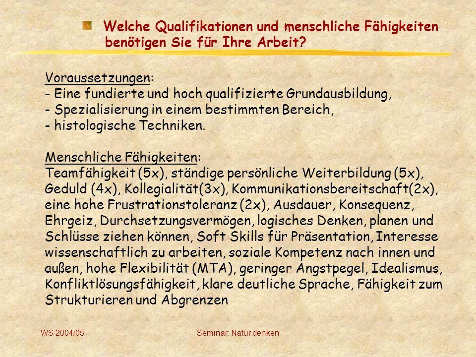 WS 2004/05Seminar: Natur denken Welche Kompetenzen wurden Ihnen übertragen (Entscheidungsspielraum).