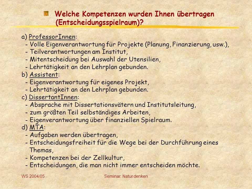WS 2004/05Seminar: Natur denken Wie kommen Sie zu Ihren Arbeitsprojekten/Aufträgen.