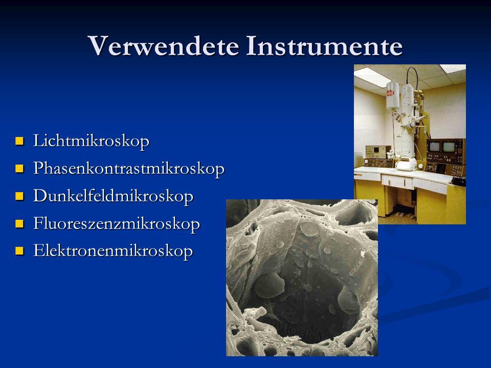 Verwendete Instrumente Lichtmikroskop Lichtmikroskop Phasenkontrastmikroskop Phasenkontrastmikroskop Dunkelfeldmikroskop Dunkelfeldmikroskop Fluoresze