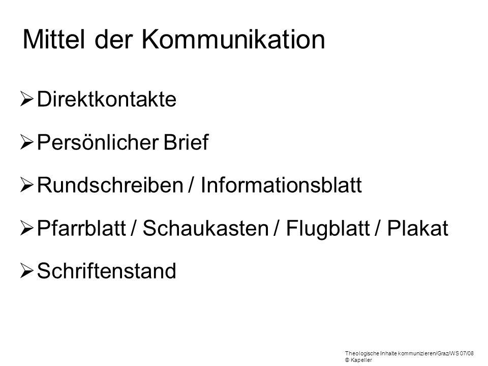 Mittel der Kommunikation Direktkontakte Persönlicher Brief Rundschreiben / Informationsblatt Pfarrblatt / Schaukasten / Flugblatt / Plakat Schriftenst