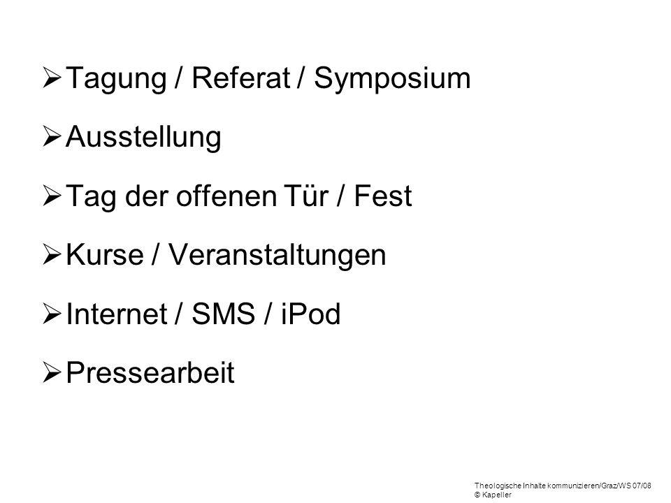 Tagung / Referat / Symposium Ausstellung Tag der offenen Tür / Fest Kurse / Veranstaltungen Internet / SMS / iPod Pressearbeit Theologische Inhalte ko