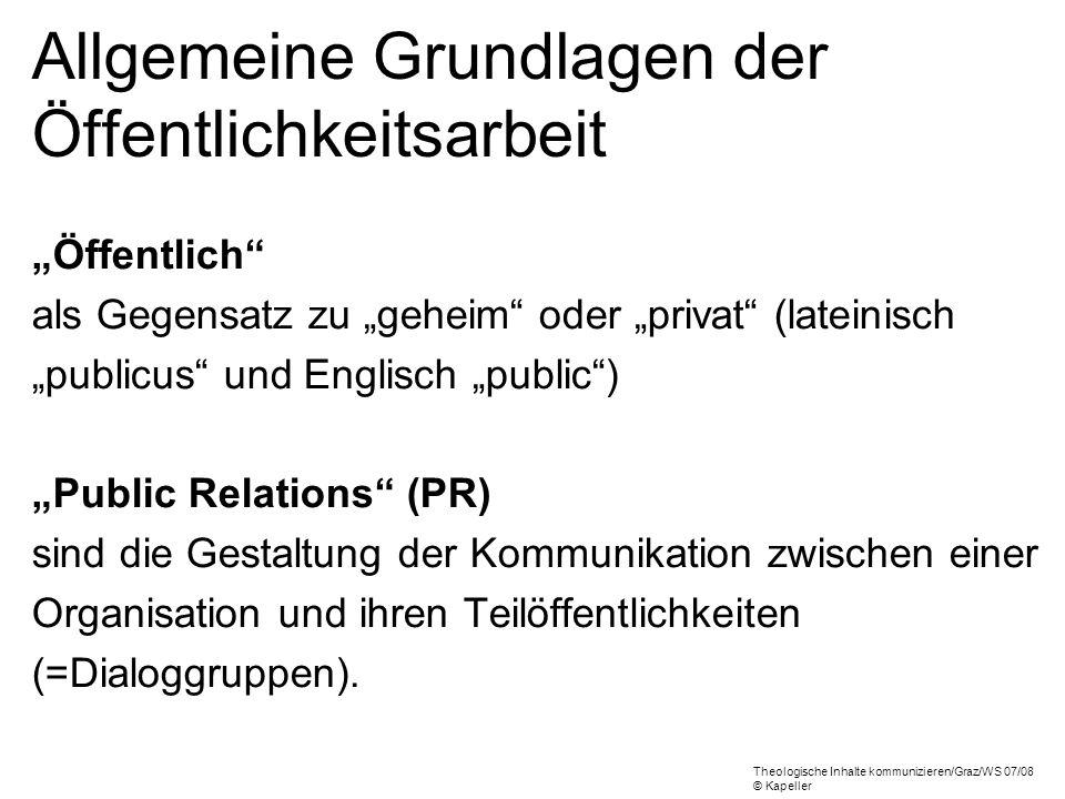 Allgemeine Grundlagen der Öffentlichkeitsarbeit Öffentlich als Gegensatz zu geheim oder privat (lateinisch publicus und Englisch public) Public Relati