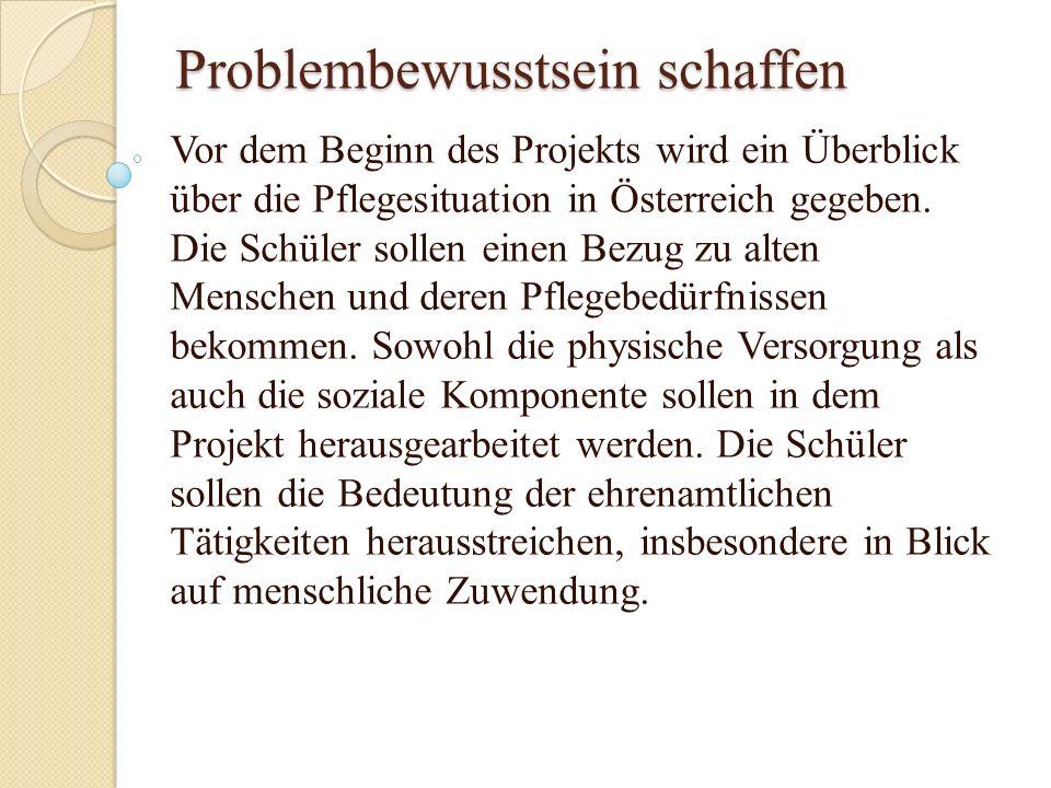 Problembewusstsein schaffen Vor dem Beginn des Projekts wird ein Überblick über die Pflegesituation in Österreich gegeben. Die Schüler sollen einen Be