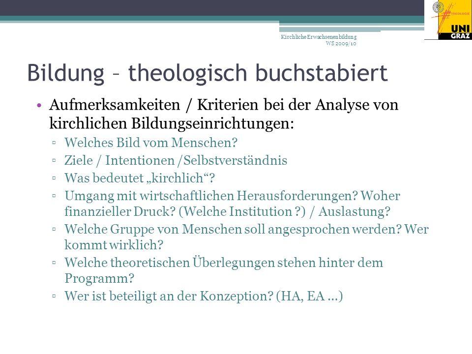 Bildung – theologisch buchstabiert Aufmerksamkeiten / Kriterien bei der Analyse von kirchlichen Bildungseinrichtungen: Welches Bild vom Menschen.