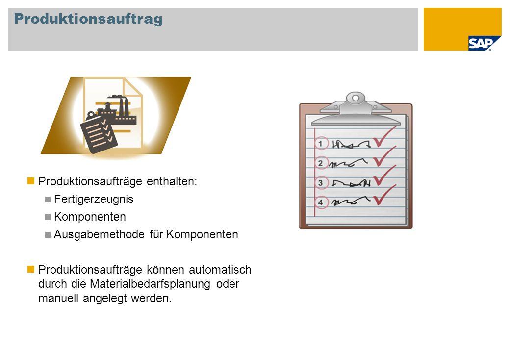 Produktionsauftrag Produktionsaufträge enthalten: Fertigerzeugnis Komponenten Ausgabemethode für Komponenten Produktionsaufträge können automatisch du