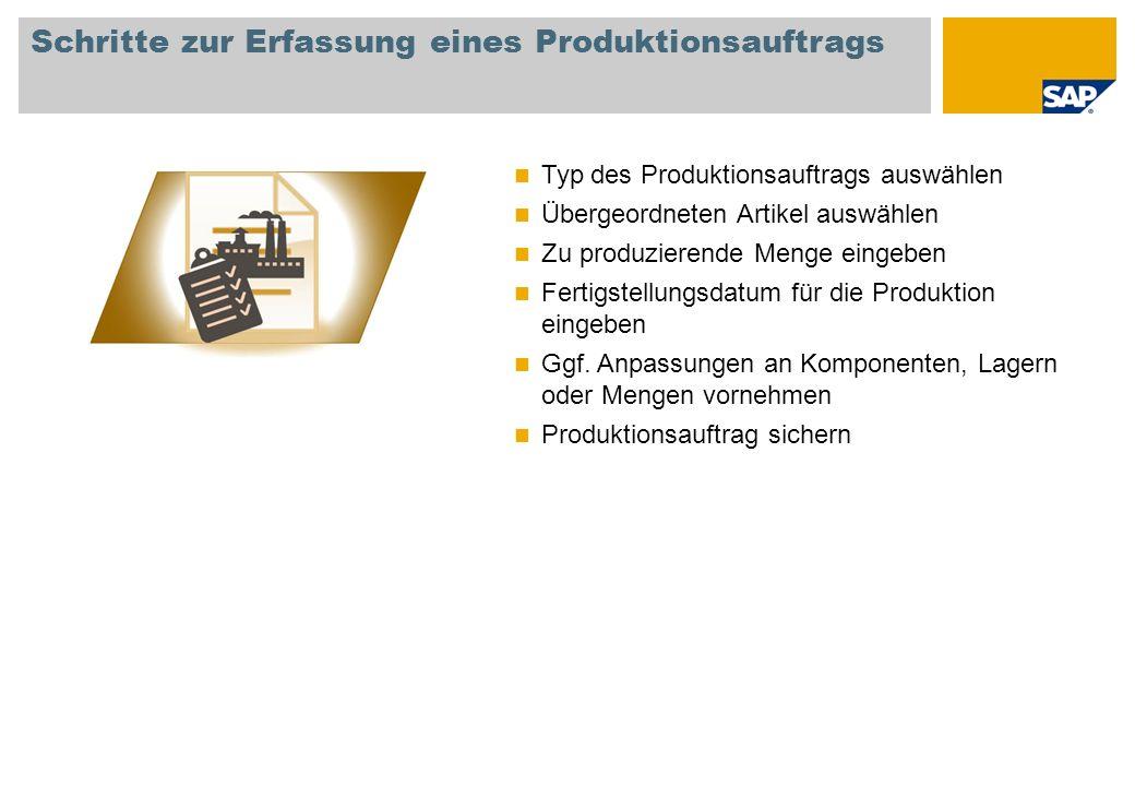 Schritte zur Erfassung eines Produktionsauftrags Typ des Produktionsauftrags auswählen Übergeordneten Artikel auswählen Zu produzierende Menge eingebe