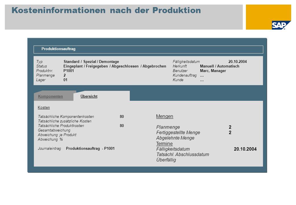 TypStandard / Spezial / DemontageFälligkeitsdatum 20.10.2004 StatusEingeplant / Freigegeben / Abgeschlossen / AbgebrochenHerkunftManuell / Automatisch