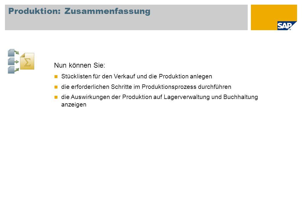 Produktion: Zusammenfassung Nun können Sie: Stücklisten für den Verkauf und die Produktion anlegen die erforderlichen Schritte im Produktionsprozess d