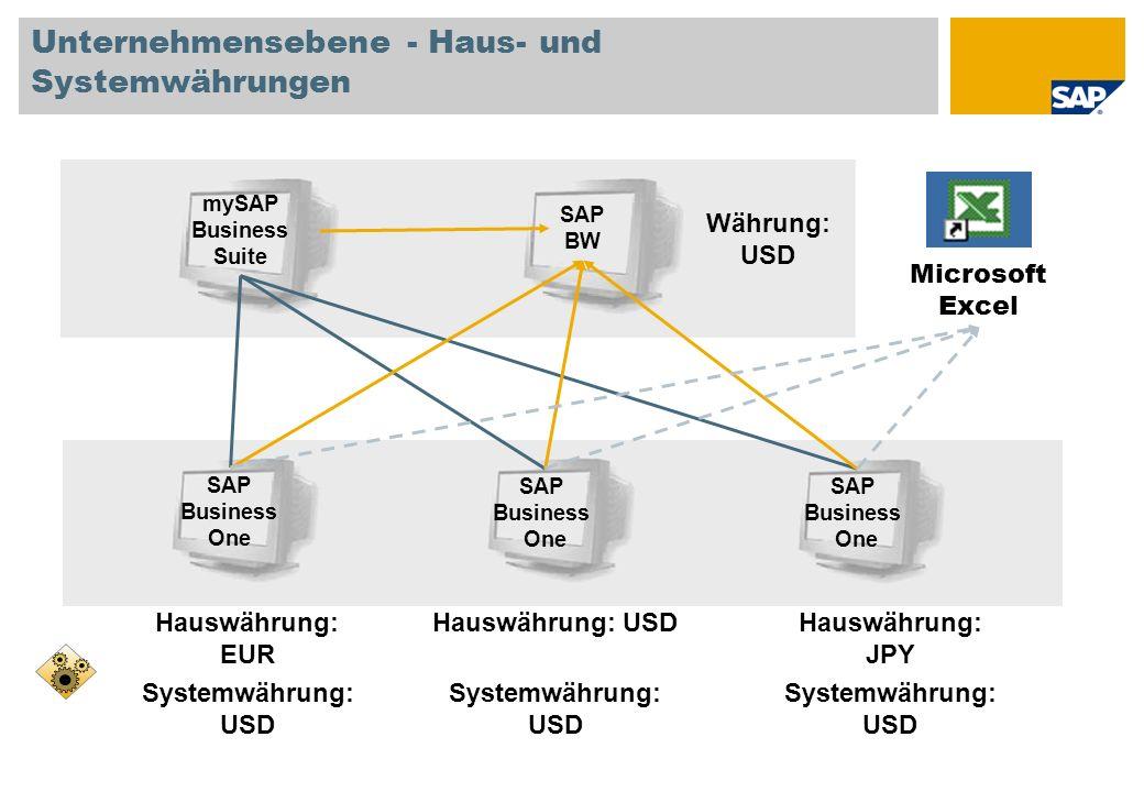 Unternehmensebene - Haus- und Systemwährungen SAP BW mySAP Business Suite Währung: USD SAP Business One Hauswährung: EUR Systemwährung: USD SAP Business One Hauswährung: USD Systemwährung: USD SAP Business One Hauswährung: JPY Systemwährung: USD Microsoft Excel