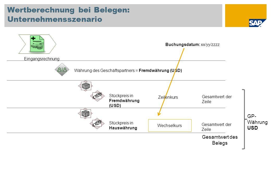 Wertberechnung bei Belegen: Unternehmensszenario Eingangsrechnung Währung des Geschäftspartners = Fremdwährung (USD) Stückpreis in Fremdwährung (USD)