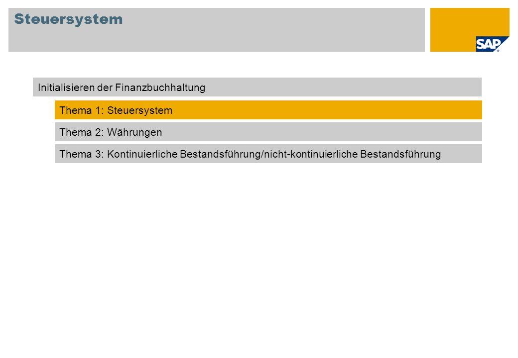 Steuersystem Initialisieren der Finanzbuchhaltung Thema 1: Steuersystem Thema 2: Währungen Thema 3: Kontinuierliche Bestandsführung/nicht-kontinuierli