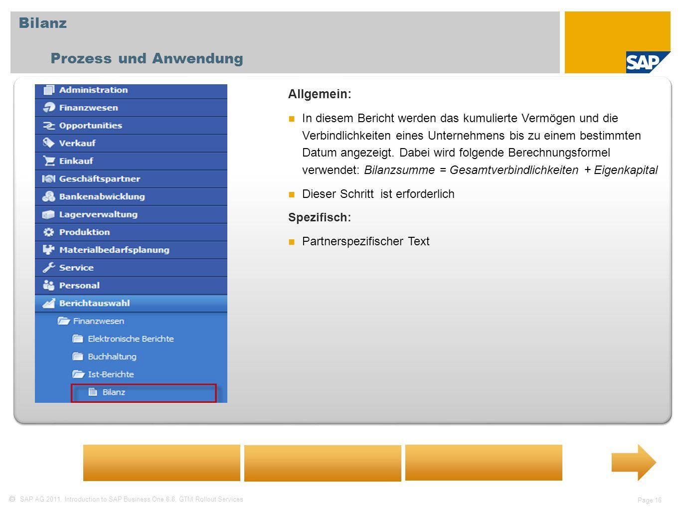 SAP AG 2011, Introduction to SAP Business One 8.8, GTM Rollout Services Page 16 Bilanz Prozess und Anwendung Allgemein: In diesem Bericht werden das k