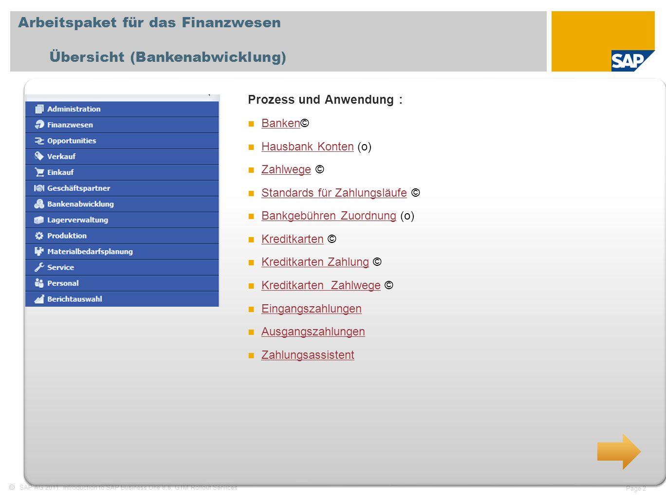 SAP AG 2011, Introduction to SAP Business One 8.8, GTM Rollout Services Page 2 Arbeitspaket für das Finanzwesen Übersicht (Bankenabwicklung) Prozess u