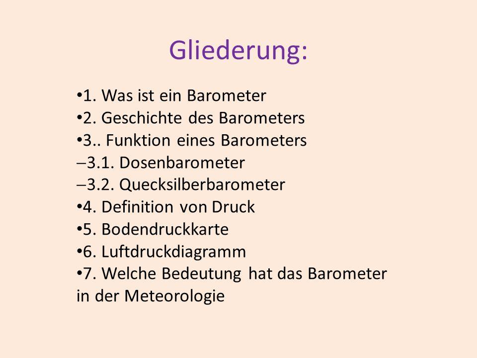Gliederung: 1. Was ist ein Barometer 2. Geschichte des Barometers 3.. Funktion eines Barometers 3.1. Dosenbarometer 3.2. Quecksilberbarometer 4. Defin