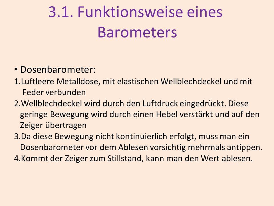 3.1. Funktionsweise eines Barometers Dosenbarometer: 1.Luftleere Metalldose, mit elastischen Wellblechdeckel und mit Feder verbunden 2.Wellblechdeckel