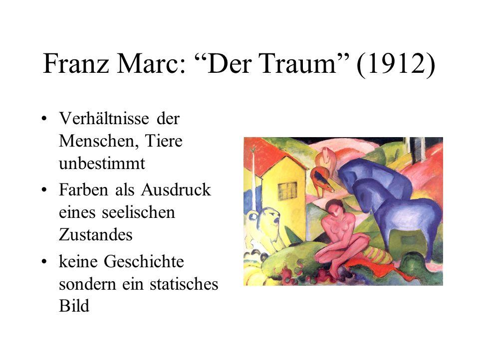 Franz Marc: Der Traum (1912) Verhältnisse der Menschen, Tiere unbestimmt Farben als Ausdruck eines seelischen Zustandes keine Geschichte sondern ein s