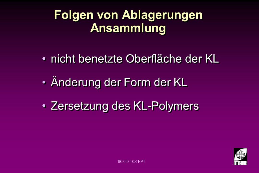 96720-10S.PPT Folgen von Ablagerungen Ansammlung nicht benetzte Oberfläche der KL Änderung der Form der KL Zersetzung des KL-Polymers nicht benetzte O