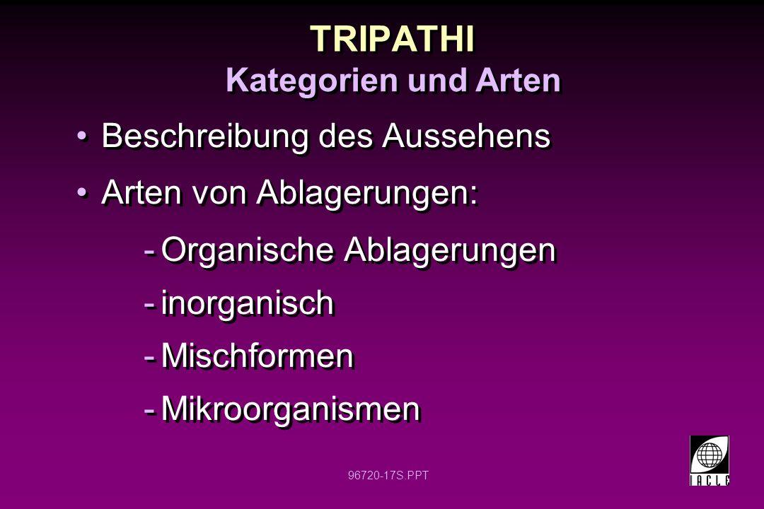 96720-17S.PPT TRIPATHI Beschreibung des Aussehens Arten von Ablagerungen: -Organische Ablagerungen -inorganisch -Mischformen -Mikroorganismen Beschrei