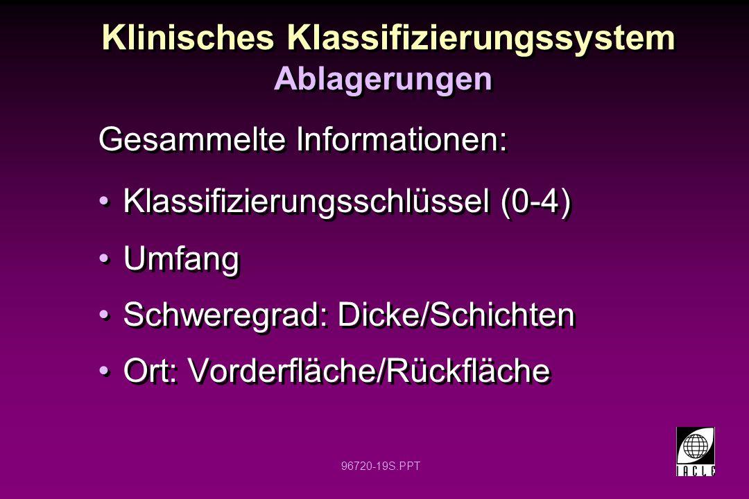 96720-19S.PPT Klinisches Klassifizierungssystem Ablagerungen Gesammelte Informationen: Klassifizierungsschlüssel (0-4) Umfang Schweregrad: Dicke/Schichten Ort: Vorderfläche/Rückfläche Gesammelte Informationen: Klassifizierungsschlüssel (0-4) Umfang Schweregrad: Dicke/Schichten Ort: Vorderfläche/Rückfläche