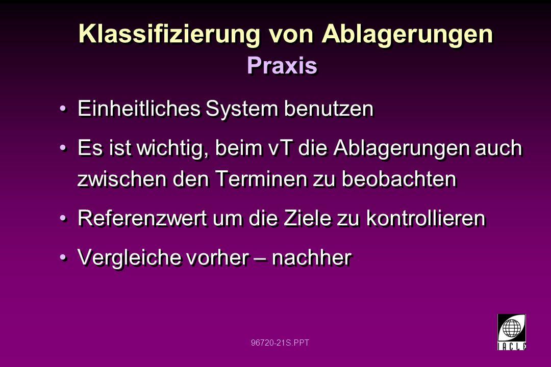 96720-21S.PPT Klassifizierung von Ablagerungen Praxis Einheitliches System benutzen Es ist wichtig, beim vT die Ablagerungen auch zwischen den Termine