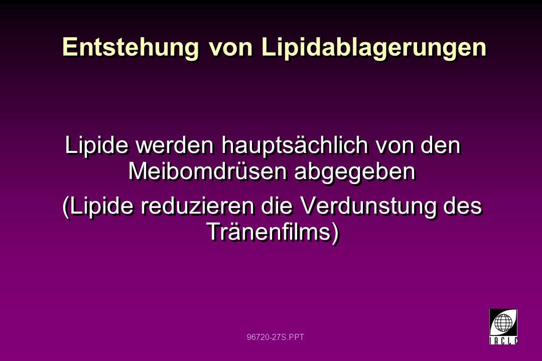96720-27S.PPT Entstehung von Lipidablagerungen Lipide werden hauptsächlich von den Meibomdrüsen abgegeben (Lipide reduzieren die Verdunstung des Tränenfilms) Lipide werden hauptsächlich von den Meibomdrüsen abgegeben (Lipide reduzieren die Verdunstung des Tränenfilms)