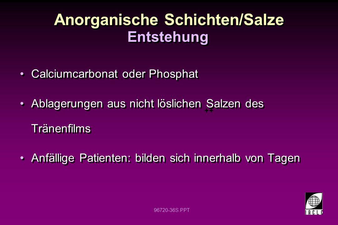 96720-36S.PPT Anorganische Schichten/Salze Calciumcarbonat oder Phosphat Ablagerungen aus nicht löslichen Salzen des Tränenfilms Anfällige Patienten: bilden sich innerhalb von Tagen Calciumcarbonat oder Phosphat Ablagerungen aus nicht löslichen Salzen des Tränenfilms Anfällige Patienten: bilden sich innerhalb von Tagen Entstehung ++
