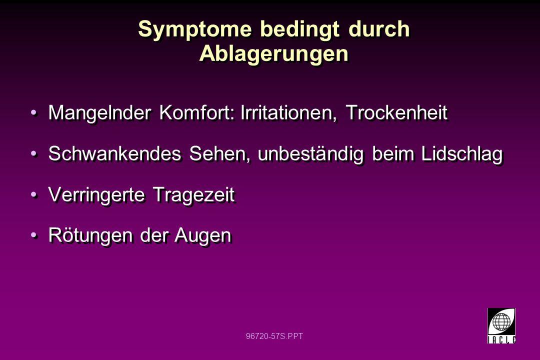 96720-57S.PPT Symptome bedingt durch Ablagerungen Mangelnder Komfort: Irritationen, Trockenheit Schwankendes Sehen, unbeständig beim Lidschlag Verring