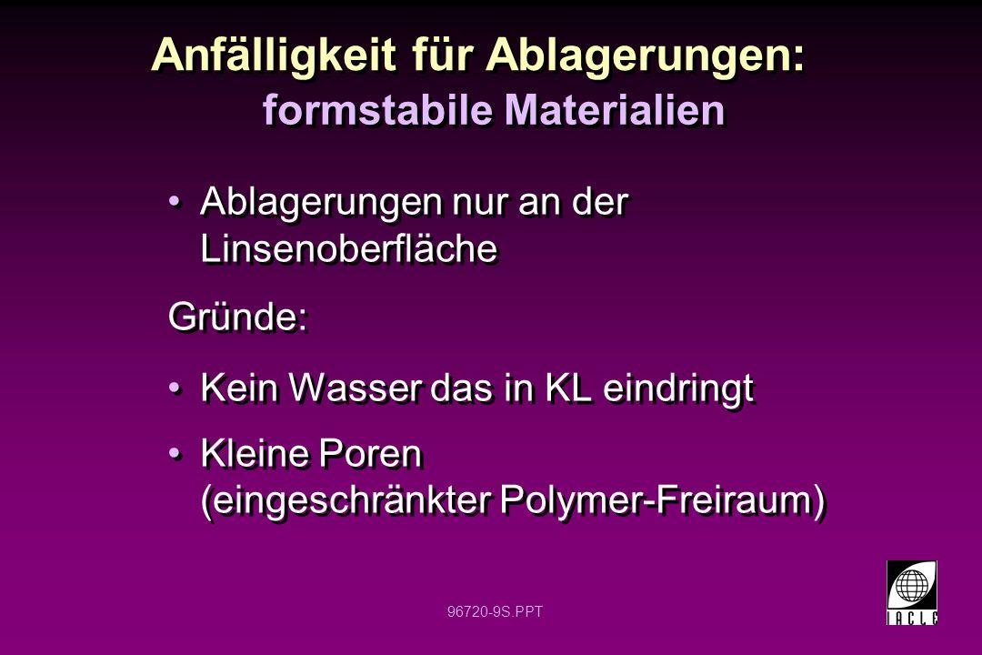 96720-9S.PPT Anfälligkeit für Ablagerungen: Ablagerungen nur an der Linsenoberfläche Gründe: Kein Wasser das in KL eindringt Kleine Poren (eingeschränkter Polymer-Freiraum) Ablagerungen nur an der Linsenoberfläche Gründe: Kein Wasser das in KL eindringt Kleine Poren (eingeschränkter Polymer-Freiraum) formstabile Materialien