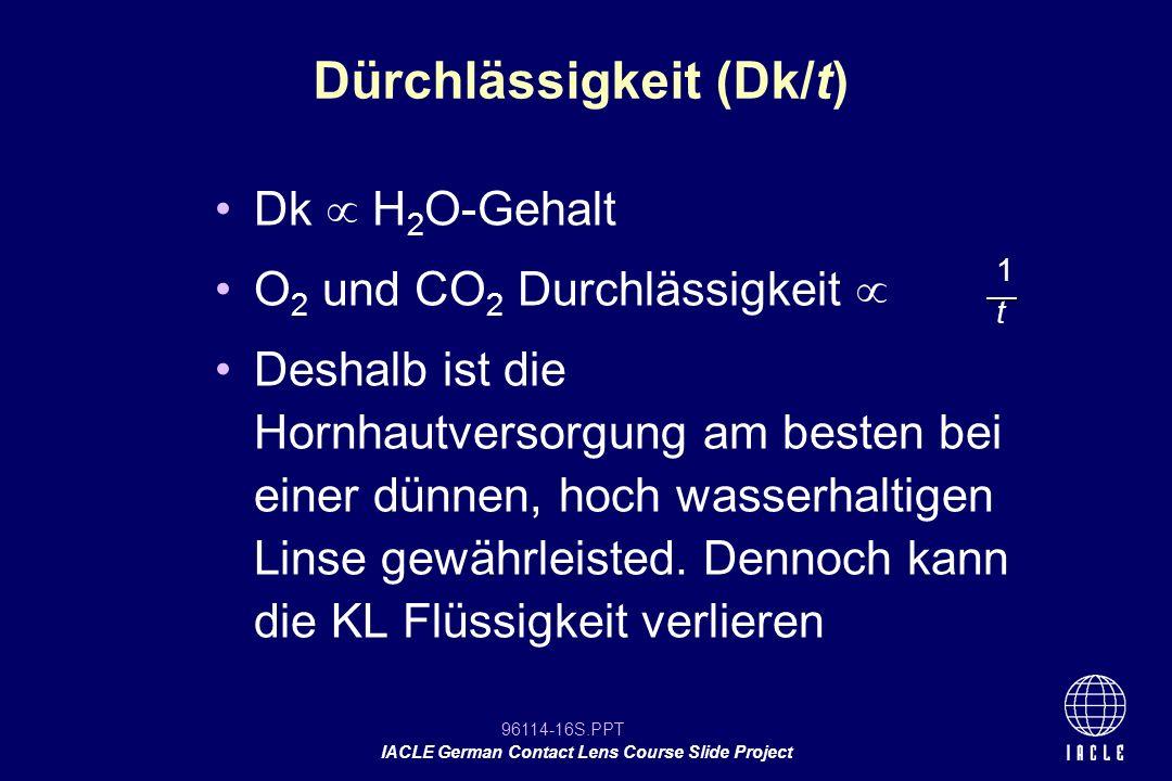 96114-16S.PPT IACLE German Contact Lens Course Slide Project Dk H 2 O-Gehalt O 2 und CO 2 Durchlässigkeit Deshalb ist die Hornhautversorgung am besten