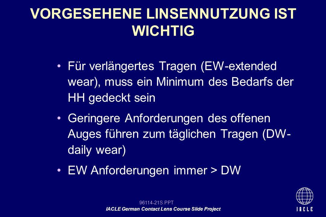 96114-21S.PPT IACLE German Contact Lens Course Slide Project Für verlängertes Tragen (EW-extended wear), muss ein Minimum des Bedarfs der HH gedeckt s