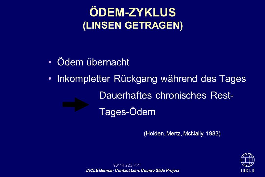 96114-22S.PPT IACLE German Contact Lens Course Slide Project Ödem übernacht Inkompletter Rückgang während des Tages Dauerhaftes chronisches Rest- Tage