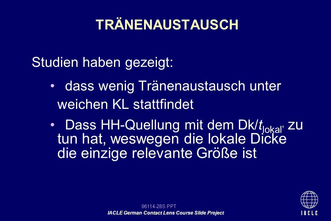 96114-28S.PPT IACLE German Contact Lens Course Slide Project TRÄNENAUSTAUSCH Studien haben gezeigt: dass wenig Tränenaustausch unter weichen KL stattf