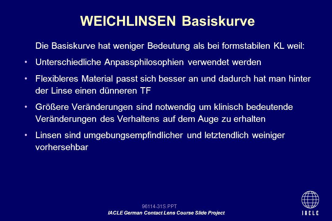 96114-31S.PPT IACLE German Contact Lens Course Slide Project Die Basiskurve hat weniger Bedeutung als bei formstabilen KL weil: Unterschiedliche Anpas
